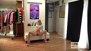 Zealous cutie in nice panties Katie Kush flashes her booty during casting
