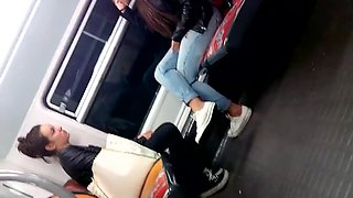 Candid french arab  girl in canvas and converse