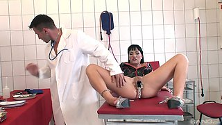 Naughty doctor loves poking ass of natural tits Janice King