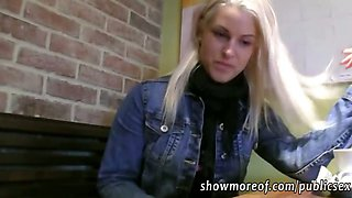 Slutry blonde babe gets payed and doggied in the toilet