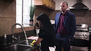 Busty Asian housekeeper Aryana Amatista is fucked by married employer