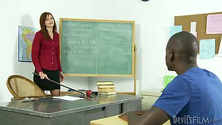 Horny teacher gives her black student the best blowjob of his life
