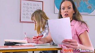 Anina Silk And Cathy Heaven - Schoolgirl Lesbian And Big Boobs Teacher Strap Fuck