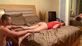 Drunk sister returned home after a party and asks her brother to massage her pussy
