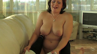 Son was excited by chubby mother´s panties