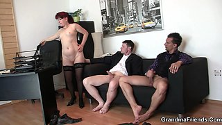 Hot mature double penetration in the office
