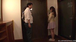 Busty Japanese neighbor Kazama Yumi takes off her clothes to tease