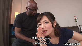 Nerdy bald black stud enjoys cute Japanese girl Tomoka Sakurai flashing her cunt