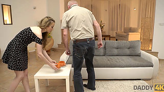 DADDY4K Taboo sex of old guy and son enticing GF ends with creampie
