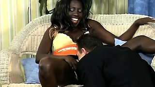 African hottie uses her body to seduce a white businessman.