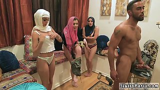 Party game orgy and college toilet fuck Hot arab nymphs try foursome