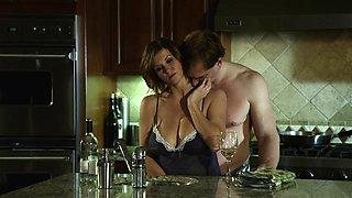 Drunk porn star with big fake tits enjoying a hardcore doggy style fuck