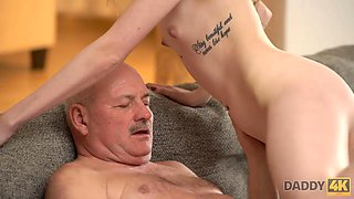 DADDY4K. Taboo sex of old guy and son enticing GF ends with creampie