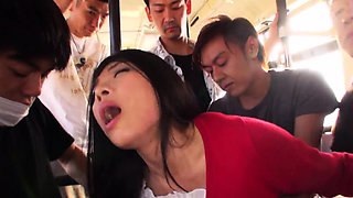 Japanese Aimi Nagano got fucked in the bus, uncensored