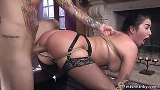 Tied up curved maid gets fucked