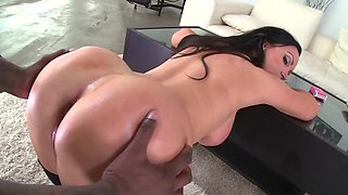 Black guy rims hot MILF's ass after blowjob and titfuck by her