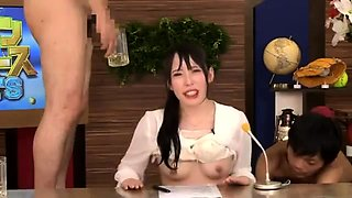 Cute Japanese babe gets covered in piss and is made to cum