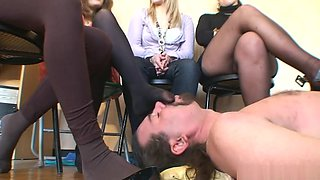 Smelly nylon sniffing and licking . 4 French Doms .