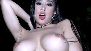 Raven-haired busty Asian babe gets banged outdoors