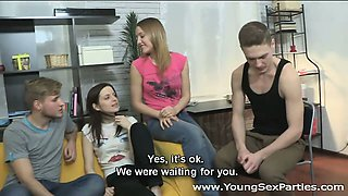 Young Sex Parties - Two guys fucking eager teens