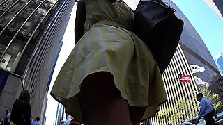 Sensuous amateur girl with sexy legs upskirt in the outdoors