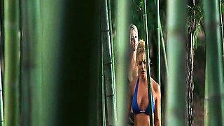 Sarah Carter wearing a blue bikini with a wet see-through