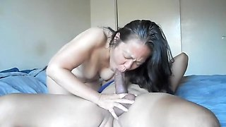 Chinese milf sucks and rides that thick cock