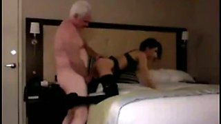 Old fart gets to fuck a young slut in the bedroom and this coed is nasty