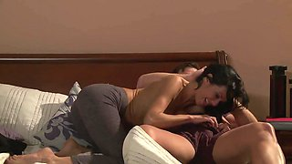 Sexy wife and her horny husband have hot sex in their bed