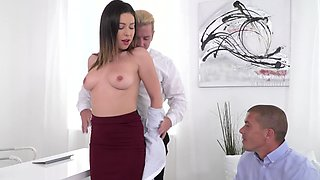 New girl at work gets double teamed by a couple of horny guys