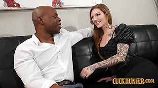Tattooed Redhead Penny Archer Takes Big Black Cock in Front of Husband