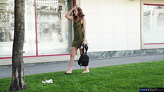Barely legal teen with a hangover walks around the city in ripped dress