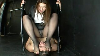 Cruel asian girl tramples her mother and pees on her face.