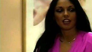 Ebony Ayes, Billy Dee, Jon Martin in retro porno clip with