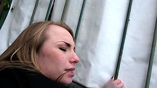 Public Agent Cute Blonde Russian babe fucked through tights