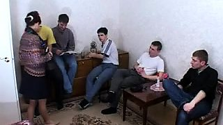 Five youngsters filling the holes of a horny Russian MILF