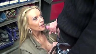 Young Boy Seduce Hot German MILF to Fuck at Car Garage