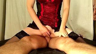Dominatrix using slave boy for orgasms; cumshot, ruined orgasm, femdom