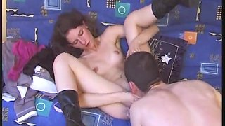 Cute French hairy girl fucked in the ass