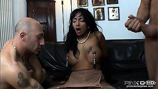 Tanned Italian babe blows big cocks