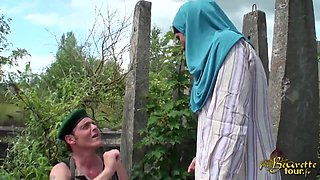 French Arab girl exchanges some oral pleasure