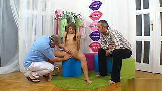 Doctor assists with hymen examination and defloration of virgin sweetie