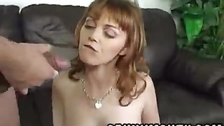 Petite redhead stripper Marie McCray lapdances for a facial