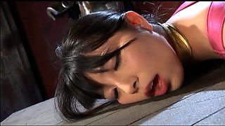 Sweet Japanese babe in uniform has a dildo plowing her cunt