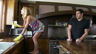 Slutty housewife Brenda James gives a tugjob in gloves and gets her slit rammed