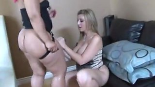 Black girl on white girl strap on