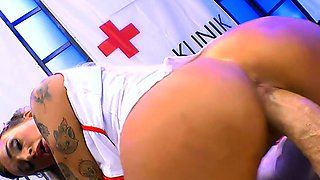 Tattooed busty nurse shows banging with cums