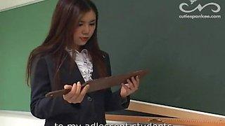 Japanese schoolgirl paddled