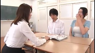 Japanese milf teacher teach student for sex in front of student&#39s mom