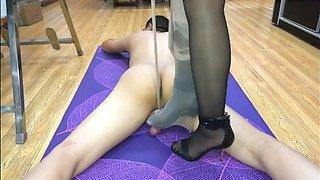 Chinese mistress black pantyhose cock trampling footjob handjob